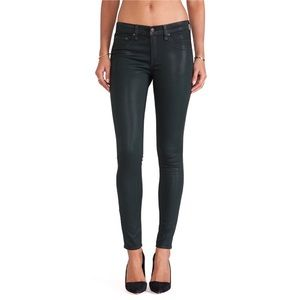 RAG & BONE GREEN COATED LEGGING JEANS